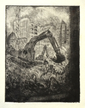 Digger at Aldgate (etching)