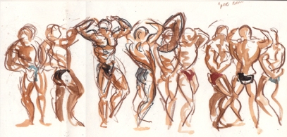 Bodybuilding competition (watercolour and pencil)