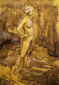 Nude in the studio (ink and wash over marble dust on paper)