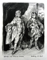 Two Princes, Windsor Castle, after van Dyck (pencil)