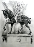 Knight on horseback, Windsor Castle (charcoal pencil)