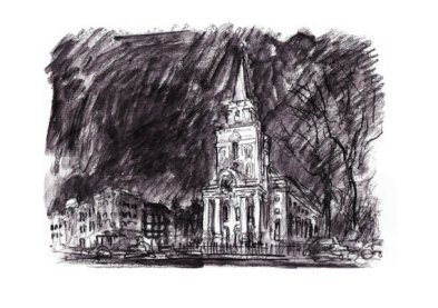 Christ Church, Spitalfields (charcoal pencil)