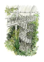 Stair at Kew Gardens (pen with watercolour)