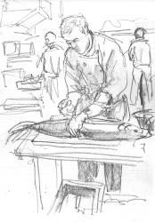 Cutting salmon (pencil)
