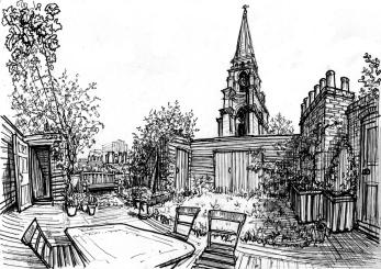 Spitalfields rooftop (pen)