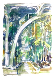 In the Palm House, Kew Gardens (oil on paper)