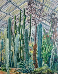 Cacti at Kew Gardens (oil on board)