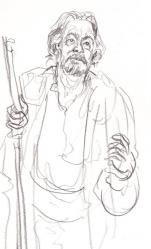 Roger Allam as Prospero at The Globe (pencil)