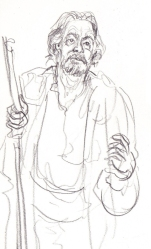 Roger Allam as Prospero at The Globe (pencil)