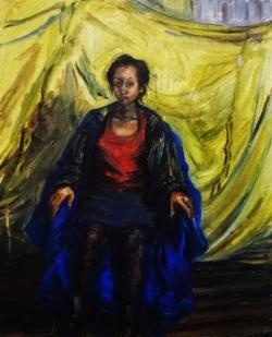 Portrait of a girl (oil on board)