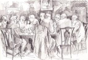 Cambridge Fellows at dinner (pencil)