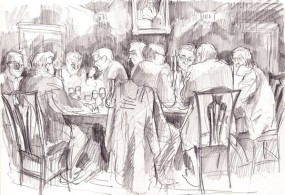 Cambridge Fellows at dinner (pencil)