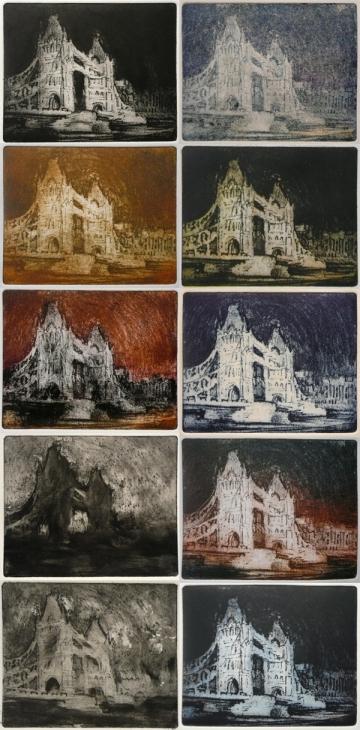 Tower Bridge at night (etching, mono-prints)