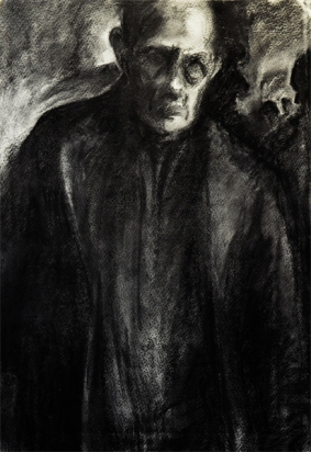 The Man of the Crowd (charcoal, from Poe's short story)