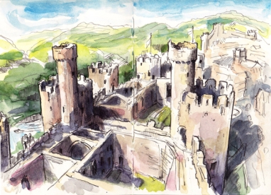 Conwy Castle, Wales (pencil and watercolour)