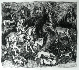 St Eustace at the National Gallery, after Pisanello (pencil)